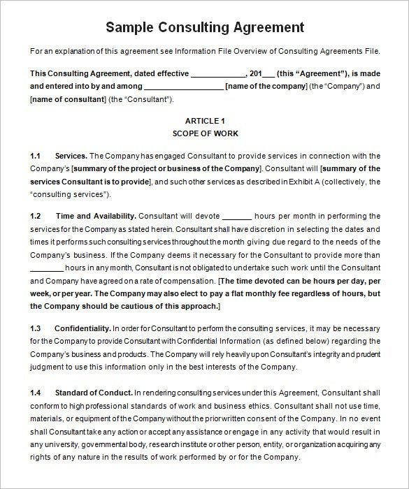 5 Consulting Contract Templates Free Word PDF Documents – Standard Consulting Agreement