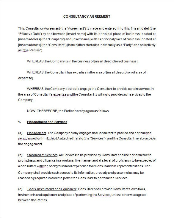 Consulting Agreement Examples Consulting Contract Template Sample