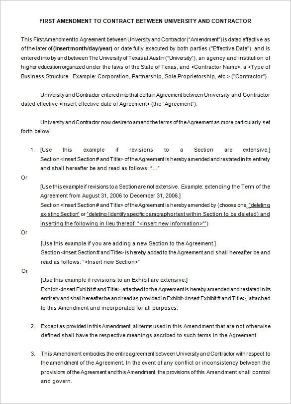 contract amendment template free example
