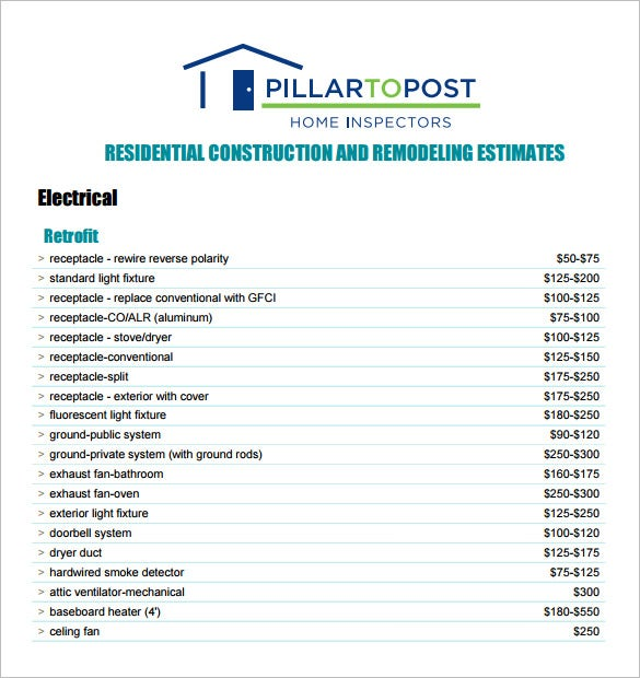 Contractor Estimate Templates  Free Word Excel  Pdf