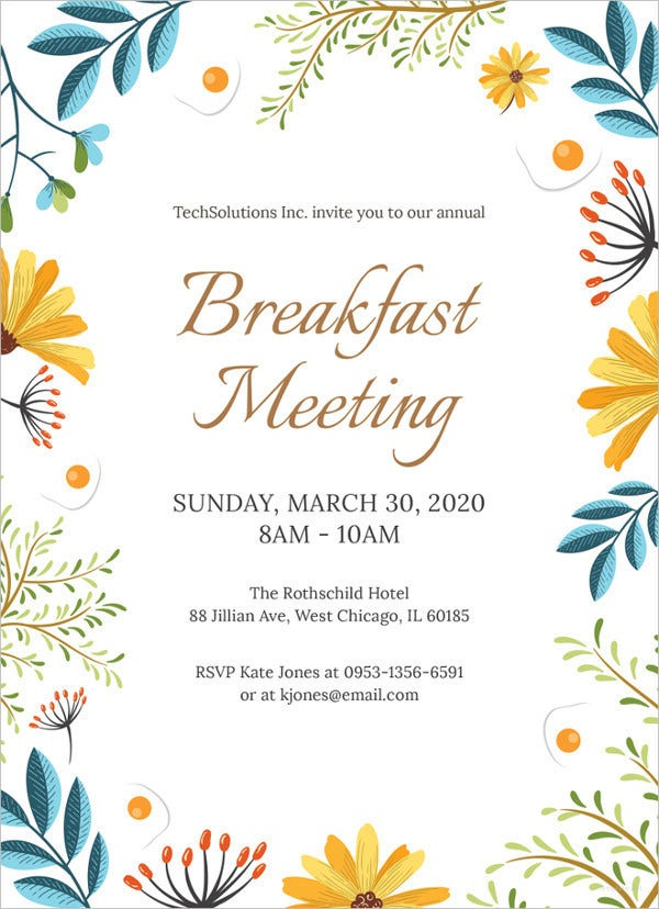38  wonderful breakfast invitation templates