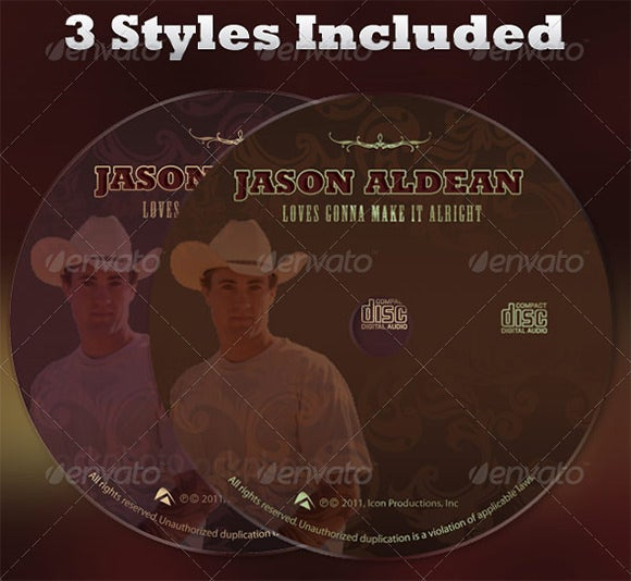 country artist cd label and insert template