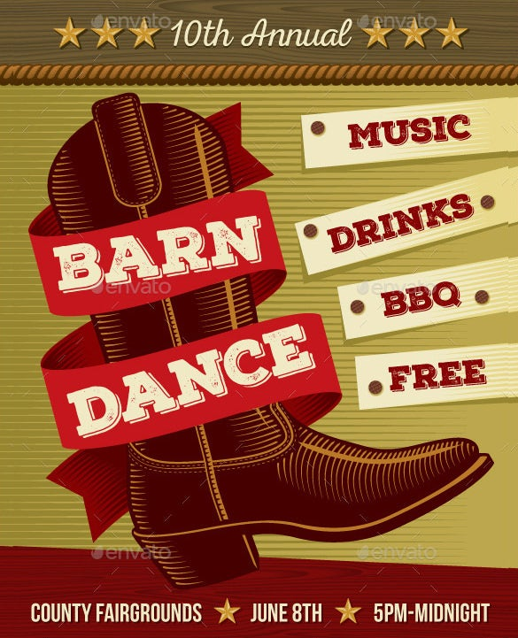 country music dance poster psd vector format