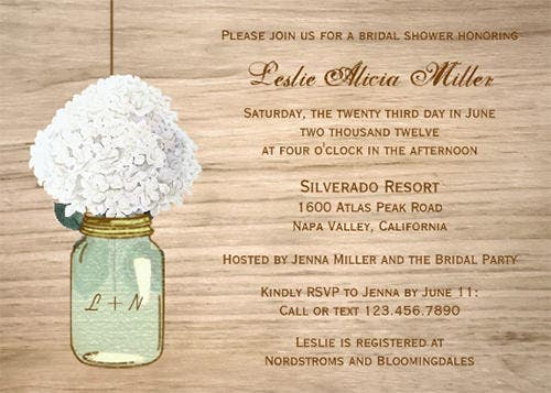 country rustic mason jar hydrangea bridal shower