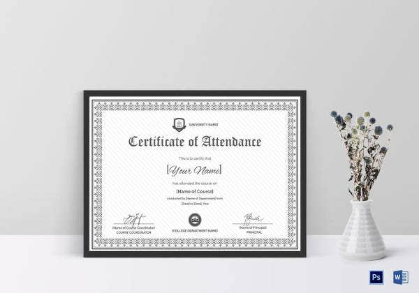 Attendance Certificate Templates   Free Word Pdf Documents