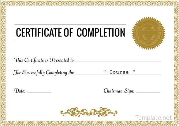completion certificate templates 40 free word pdf psd course completion certificate template