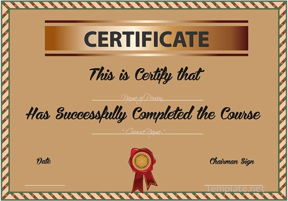 Course Completion Certificate Format Word  Course Completion Certificate Format