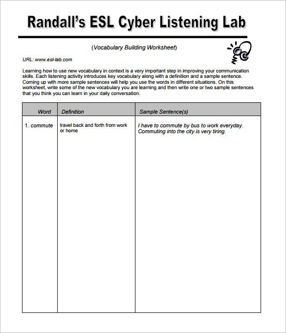 Create Vocabulary Building Worksheet Template