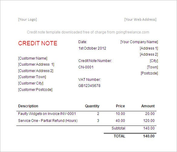 Credit Invoice Sample – Privatesoftware.Info
