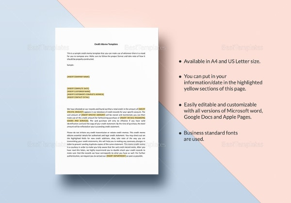 credit memo templates 12 free word excel pdf documents download