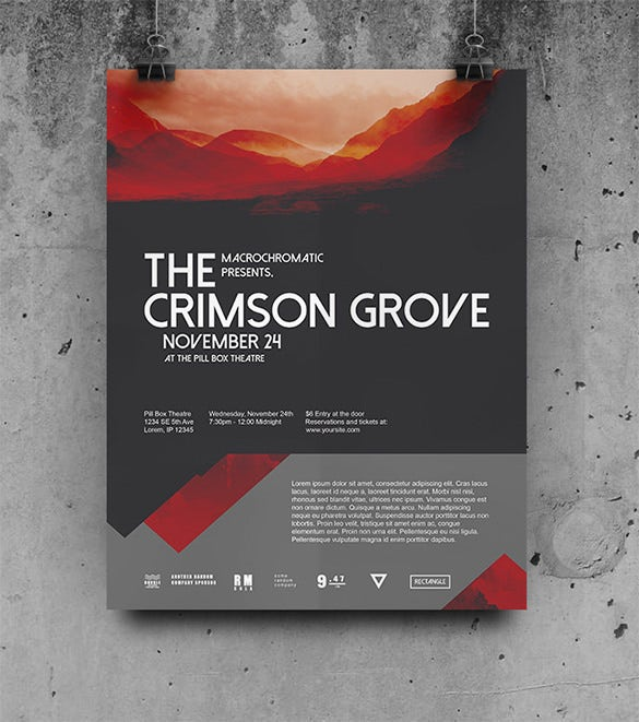 crimson concert psd poster template for 6