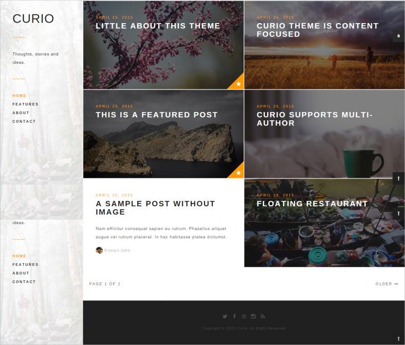 curio responsive minimal ghost theme 788x671