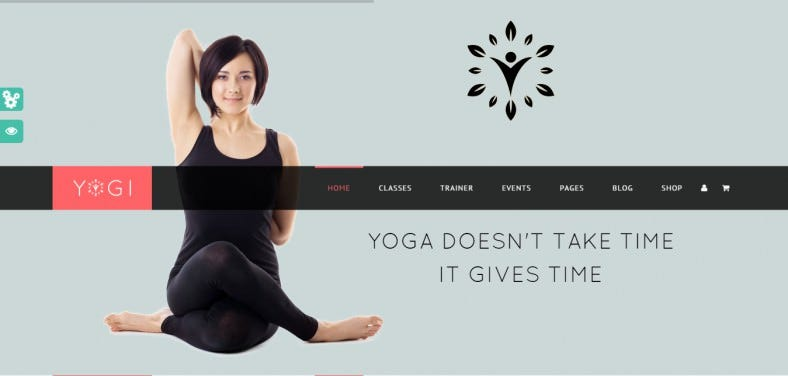 Custom Floating Menu Yoga WordPress Theme