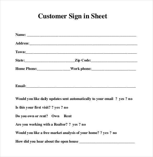 customer sign in sheet