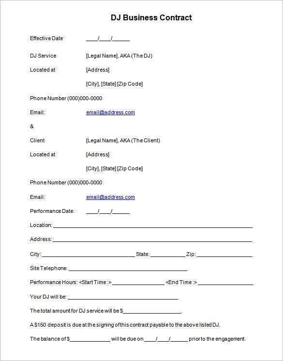 Dj Business Contract Template Example