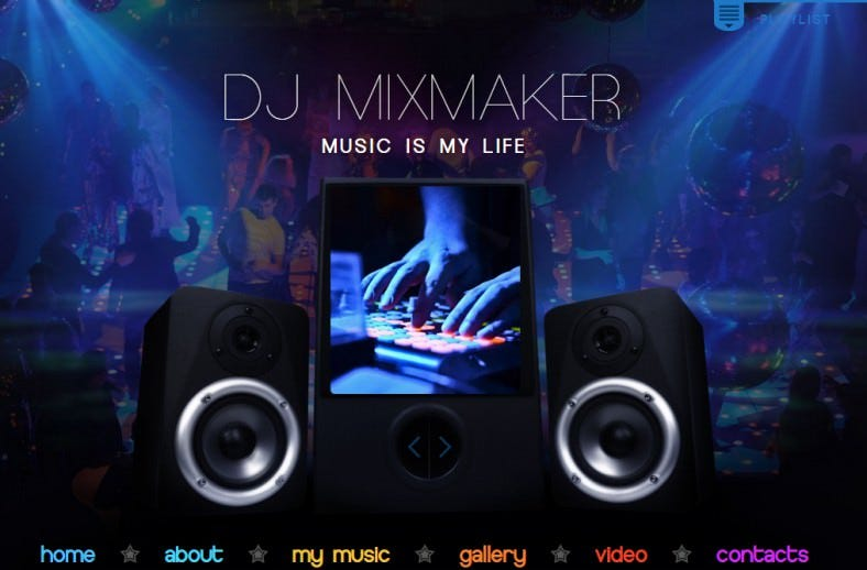 dj mix website template 788x518