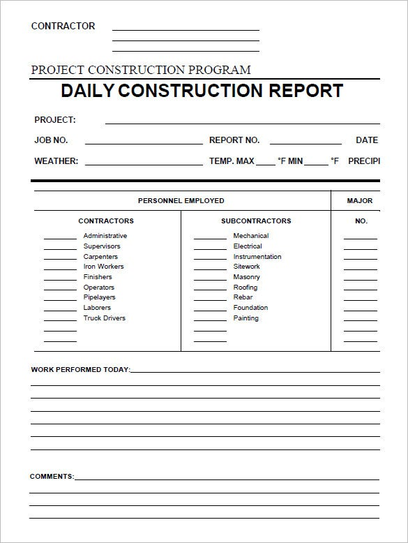 Daily Activity Report Construction Printable Editable Blank – Daily Activity Report Template