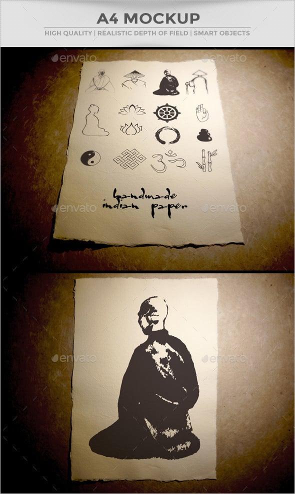 dark a4 paper mockup psd template