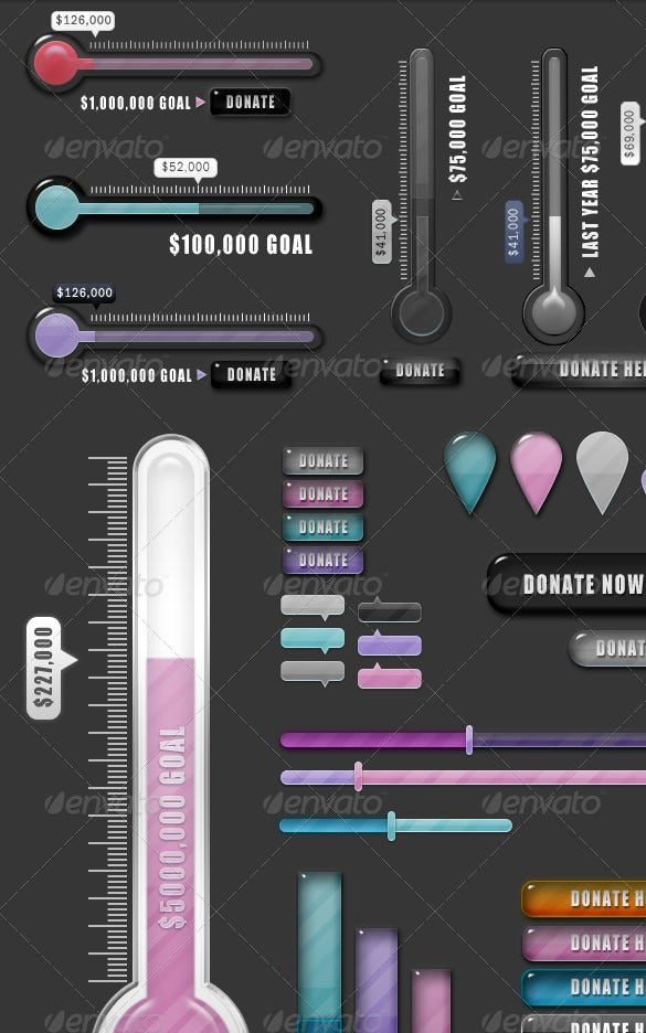 dark background donation thermometer template
