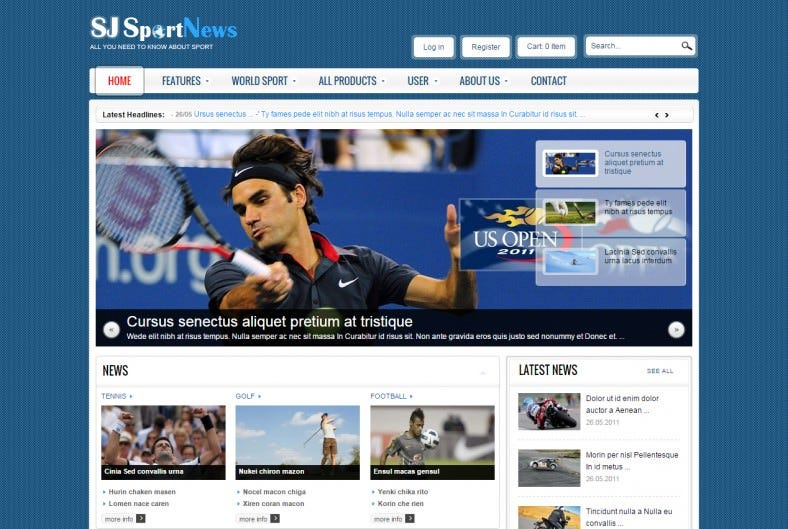 Dark Blue Joomla Template for Sports News