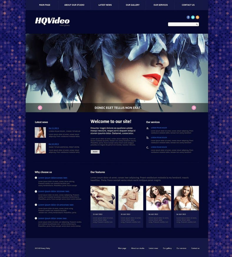 Dark Blue Responsive Joomla Template for Video Lab