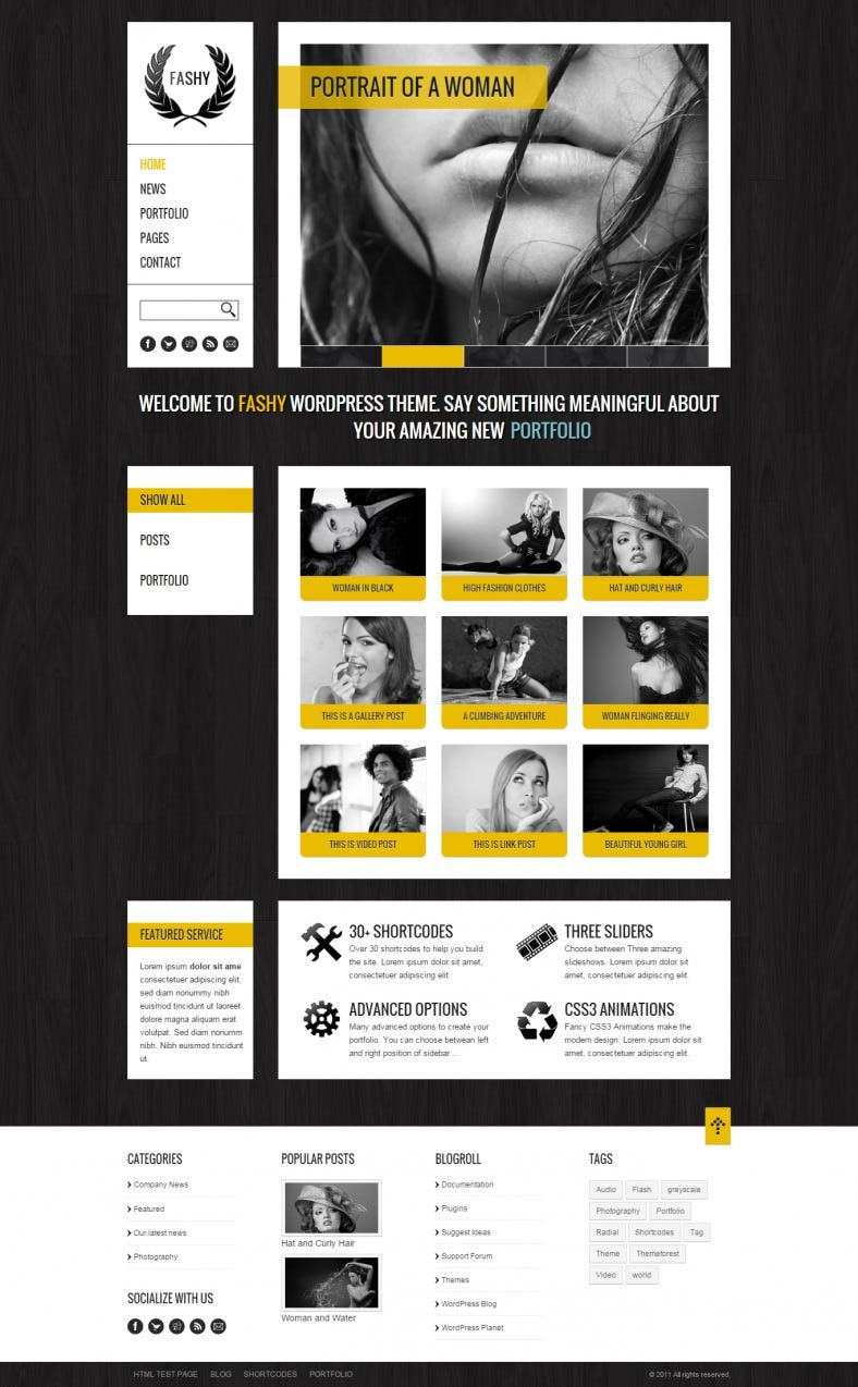 Dark Color WordPress Fashion Template