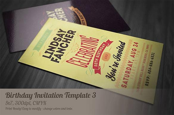 dark retro birthday invitation card