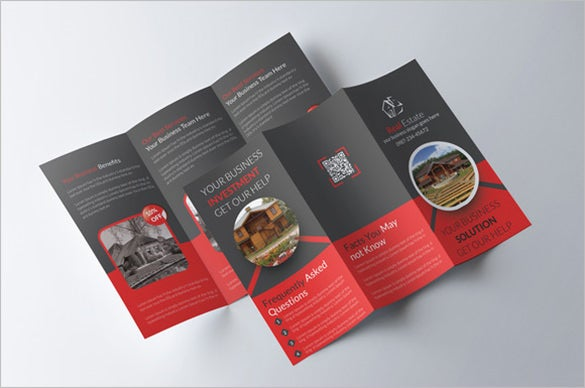 dark tri fold real estate brochure for 8