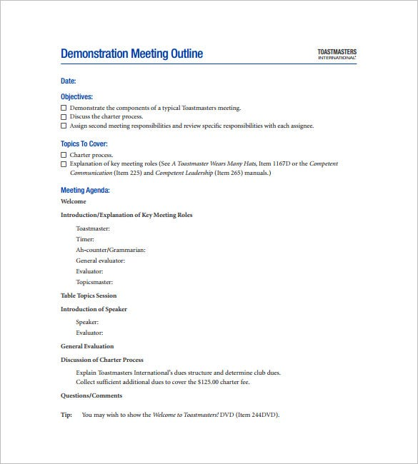 demonstration meeting outline template in pdf download
