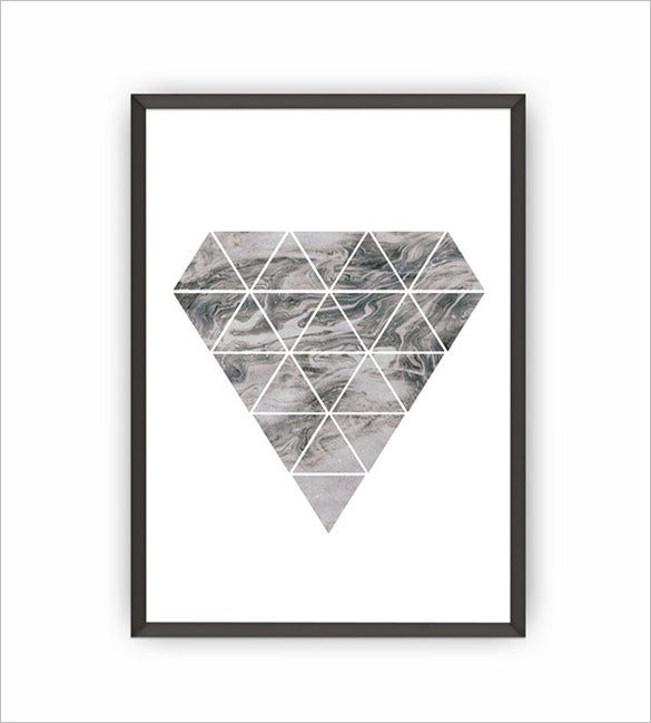 diamond marble a4 poster mockup