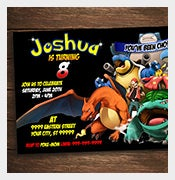 digital pokemon birthday party invitation card