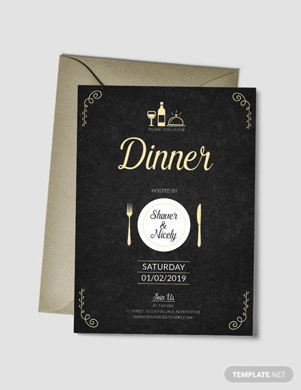 dinner invitation card template in psd