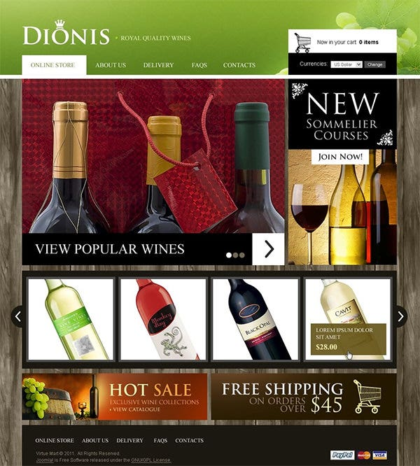 dionis virtuemart template