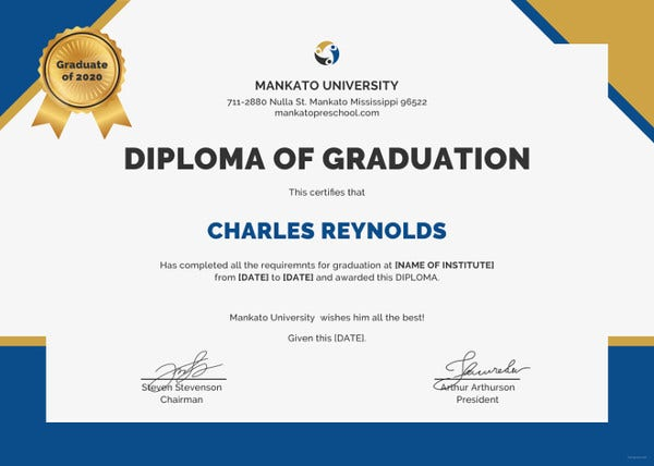 diploma of graduation certificate psd template
