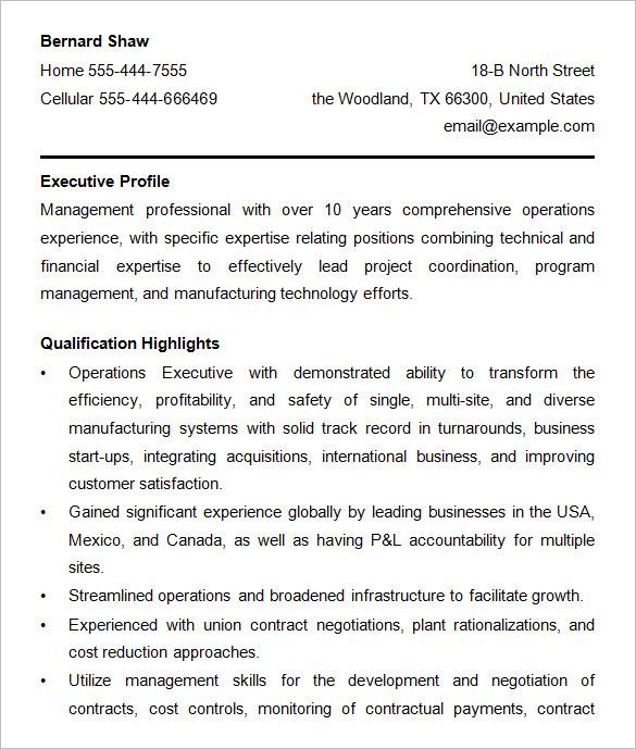 directors operations resume