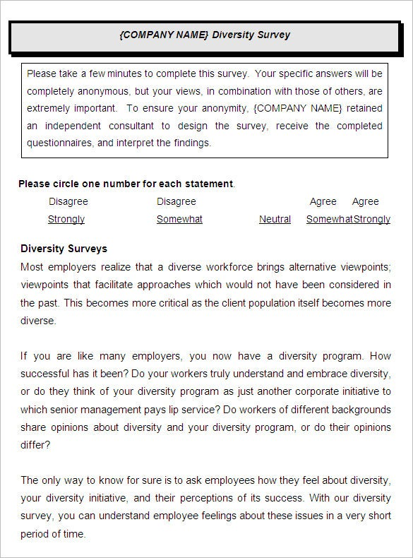 diversity employee satisfaction survey template