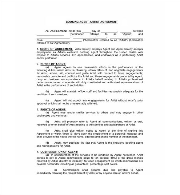 Booking Agent Contract Templates  Free Word  Documents