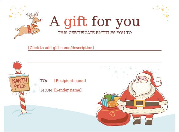 image about Free Printable Christmas Gift Certificates called 20+ Xmas Present Certification Templates - Phrase, PDF, PSD