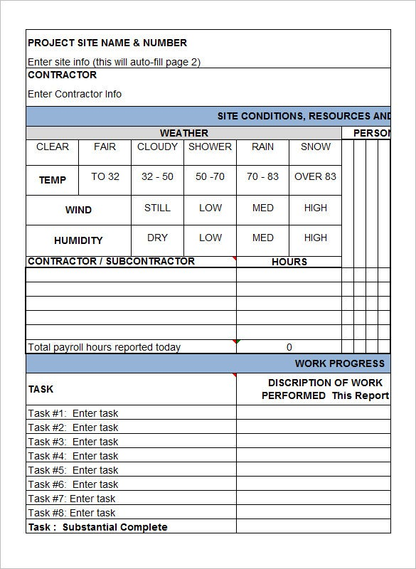 Daily Report Sample For Construction Site Geccetackletartsco - Construction daily report template excel