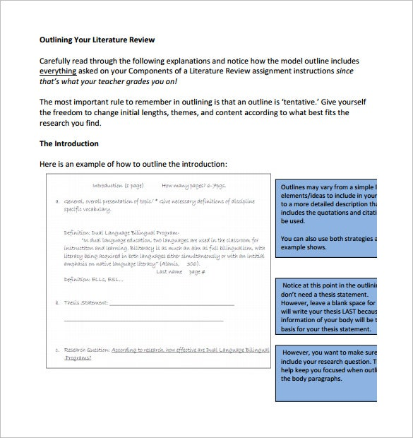 Literature Review Outline Templates  Free Word Pdf Documents