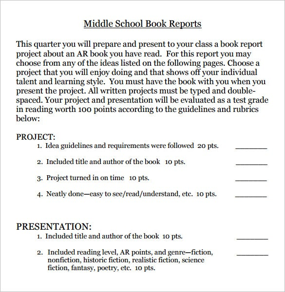 download middle school book report in pdf
