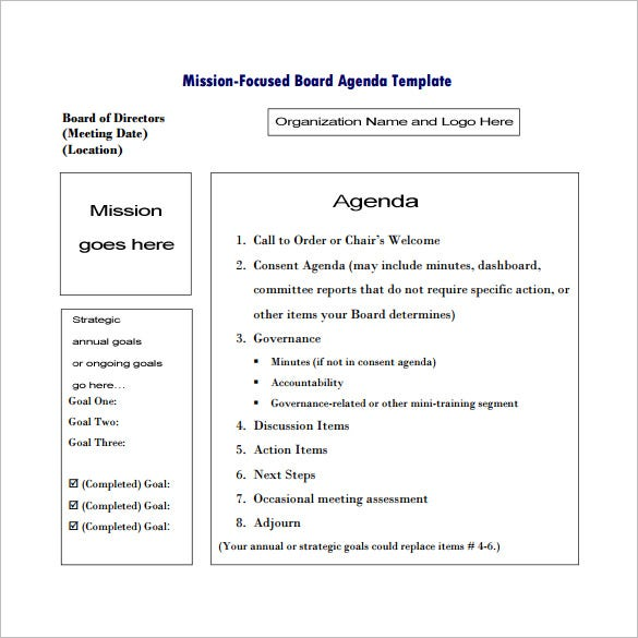 Mission Focused Board Agenda Template In Pdf