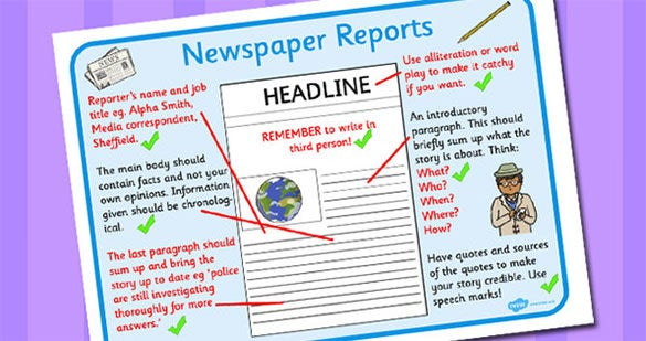writing a news report template Printable newspaper templates from sparklebox  you'll also find news briefs from around  the children when writing newspaper reports the template uses.