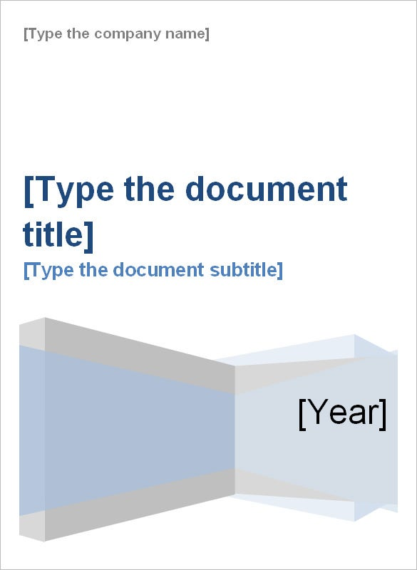 cover page for report template