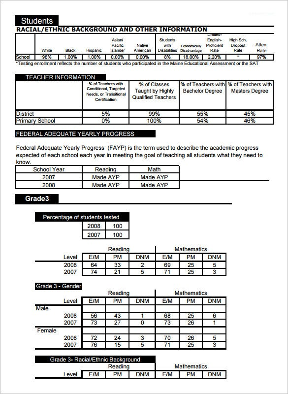 download windham primary school report template