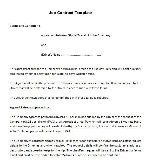 17 job contract templates free word pdf documents for Employee vehicle use agreement template