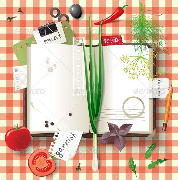 eps family cookbook templates illustrator