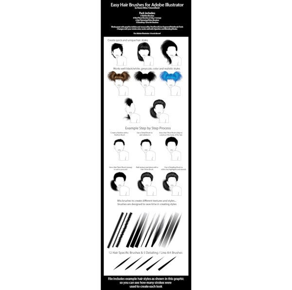 easy hair brushes for adobe illustrator1