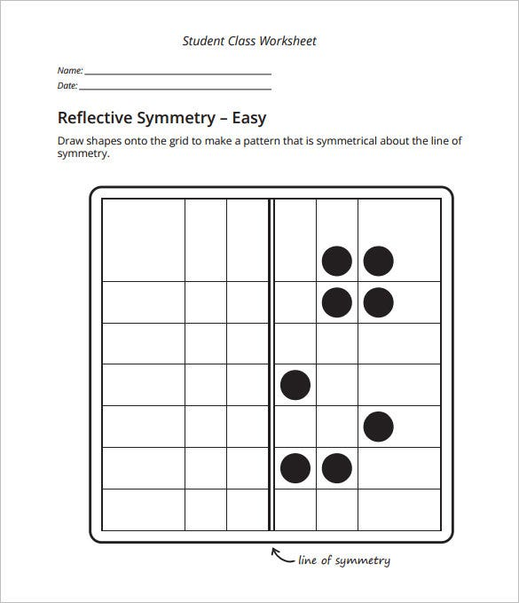 easy reflective symmetry worksheet in pdf