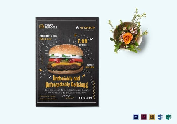 easy to edit burger promotion flyer template